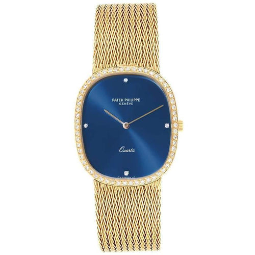Patek Philippe Blue 18K Yellow Gold and Diamond Ellipse 3875 Men's Wristwatch 35x 31MM PRE-OWNED - Global Timez