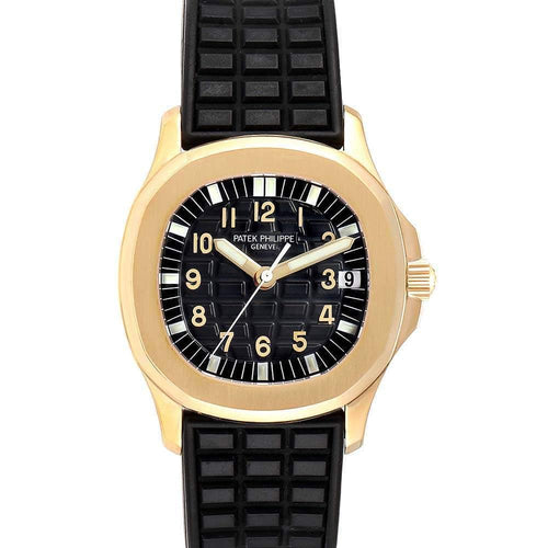 Patek Philippe Black 18K Yellow Gold Aquanaut Automatic 5066 Men's Wristwatch 34 MM PRE-OWNED - Global Timez