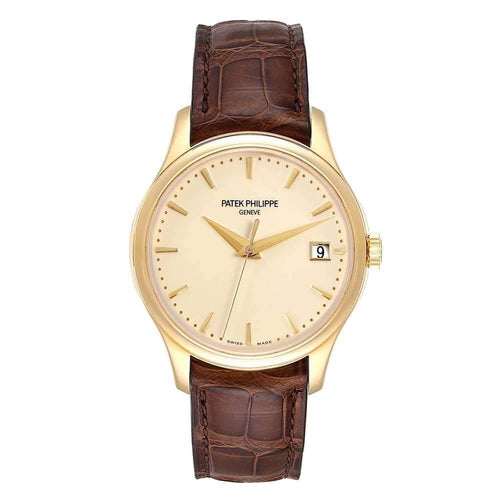 Patek Philippe Ivory 18K Yellow Gold and Leather Calatrava Hunter 5227 Men's Wristwatch 38MM PRE-OWNED - Global Timez