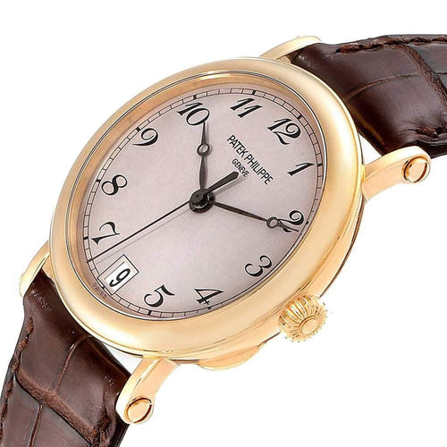 Patek Philippe Beige 18K Yellow Gold Calatrava Officier 5053 Men's Wristwatch 36MM PRE-OWNED - Global Timez