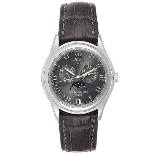 Patek Philippe Slate Platinum 18K White Gold Annual Calendar Moonphase 5056 Men's Wristwatch 36.5MM PRE-OWNED - Global Timez