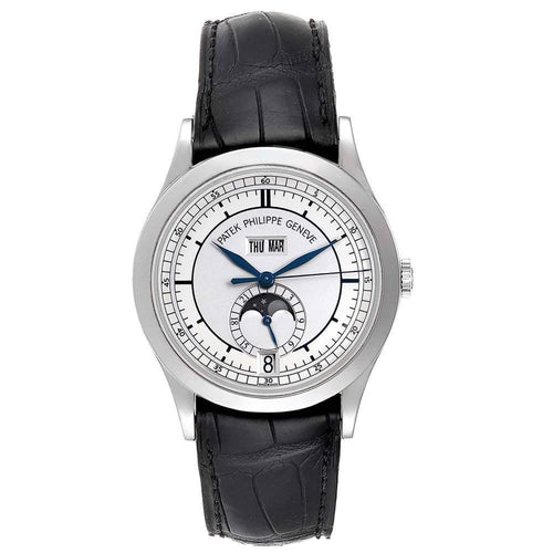Patek Philippe Silver 18K White Gold Annual Calendar 5396 Men's Wristwatch 39MM PRE-OWNED - Global Timez