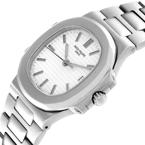 Patek Philippe White Stainless Steel Nautilus Automatic 3800 Men's Wristwatch 37.5 x 37.5 MM PRE-OWNED - Global Timez