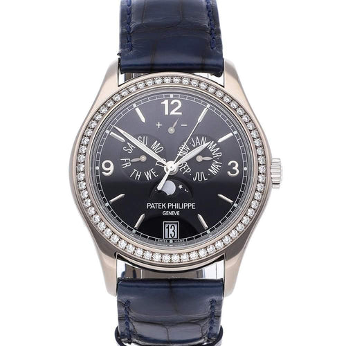 Patek Philippe Navy Blue Diamonds 18K White Gold Complications Annual Calendar 5147G-001 Men's Wristwatch 39 MM PRE-OWNED - Global Timez