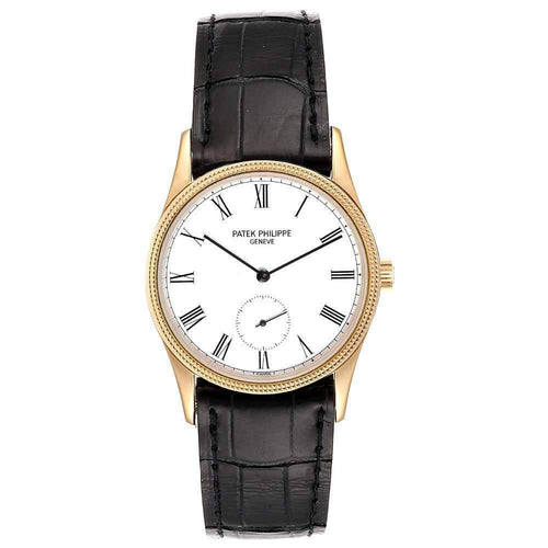 Patek Philippe White 18k Rose Gold Calatrava Vintage 3796 Men's Wristwatch 30.5 MM PRE-OWNED - Global Timez