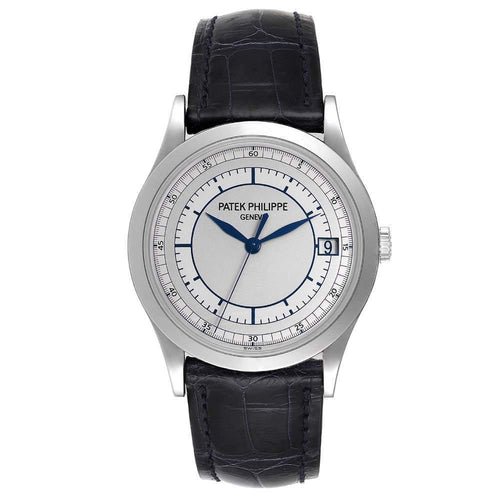 Patek Philippe Silver 18K White Gold Calatrava Automatic 5296 Men's Wristwatch 38 MM PRE-OWNED - Global Timez