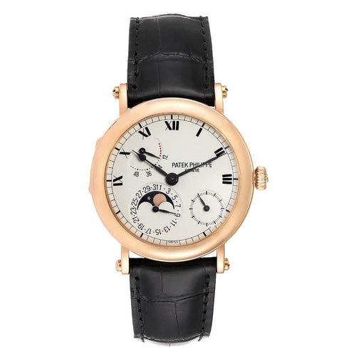 Patek Philippe White 18K Rose Gold Complications Power Reserve Moonphase 5054 Men's Wristwatch 36 MM PRE-OWNED - Global Timez