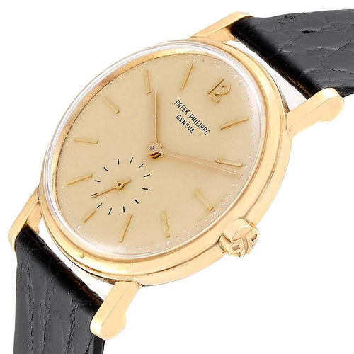 Patek Philippe Cream 18K Yellow Gold Calatrava Vintage Automatic 3435 Men's Wristwatch 34 MM PRE-OWNED - Global Timez