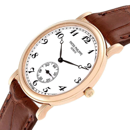 Patek Philippe White 18K Rose Gold Calatrava 5022 Men's Wristwatch 33 MM PRE-OWNED - Global Timez