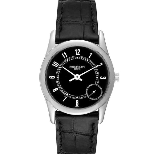 Patek Philippe Black 18K White Gold Calatrava Automatic 5000 Men's Wristwatch 33 MM PRE-OWNED - Global Timez