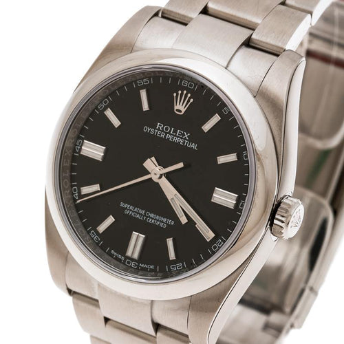 Men's Rolex Black Stainless Steel Oyster Perpetual 36 116000 Wristwatch 36 mm BRAND NEW - Global Timez