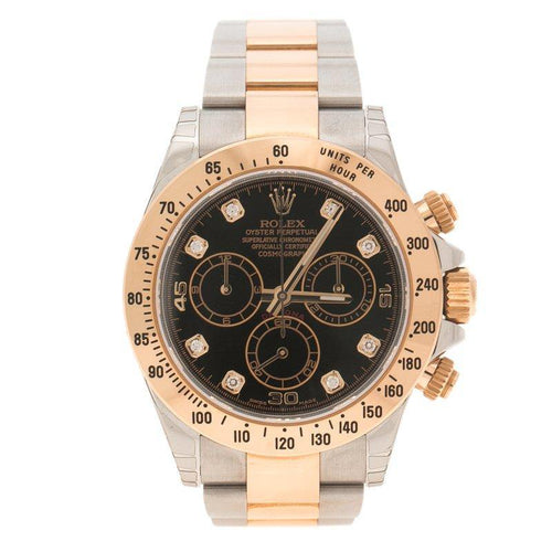 Men's Rolex Black Stainless Steel and Gold Cosmograph Daytona Wristwatch 38 mm PRE-OWNED - Global Timez