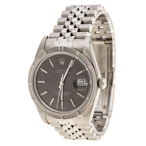 Men's Rolex Grey Stainless Steel Oyster Perpetual Date 15010 Wristwatch 34 mm PRE-OWNED - Global Timez