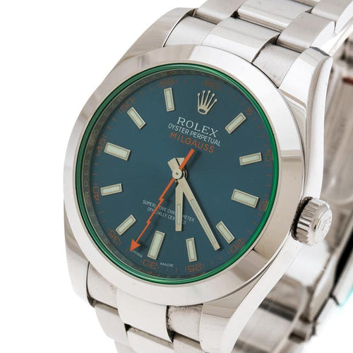 Men's Rolex Blue Stainless Steel Milgauss 11600GW Wristwatch 40 mm PRE-OWNED - Global Timez