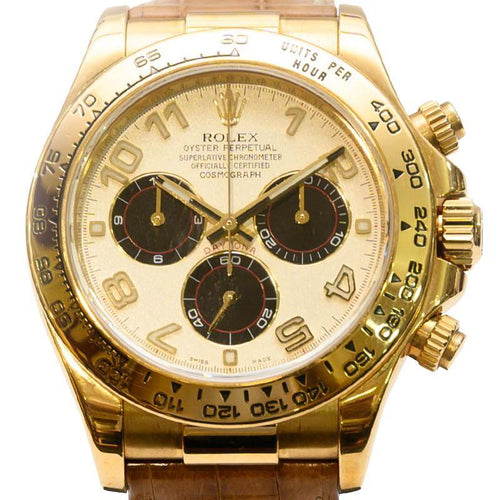 Men's Rolex White 18K Yellow Gold Cosmograph Daytona Wristwatch 40MM PRE-OWNED - Global Timez