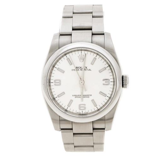 Men's Rolex Silver Stainless Steel Oyster Perpetual Wristwatch 36 mm PRE-OWNED - Global Timez