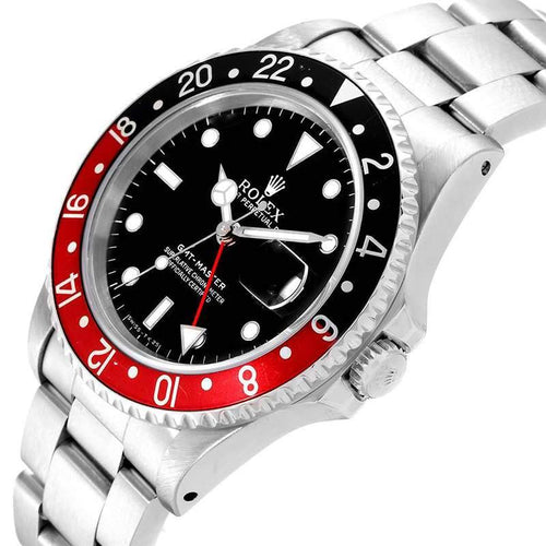 Men's Rolex Black and Stainless Steel GMT Master 16700 Wristwatch 40MM PRE-OWNED - Global Timez