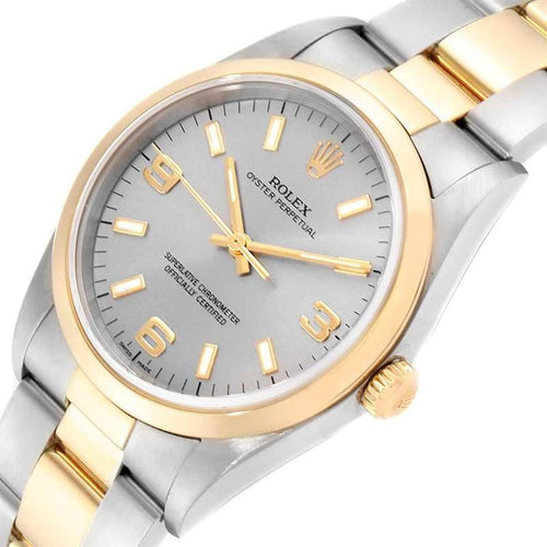 Men's Rolex Silver 18K Yellow Gold And Stainless Steel Oyster Perpetual 14203 Wristwatch 34 MM PRE-OWNED - Global Timez