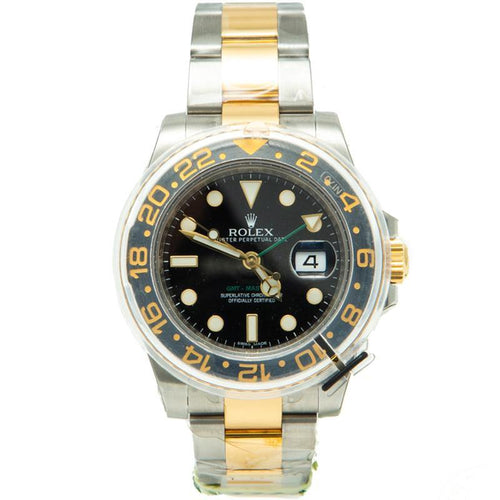 Men's Rolex GMT Master Ii Steel & Yellow Gold Black Dial & Bezel Watch 40MM PRE-OWNED - Global Timez
