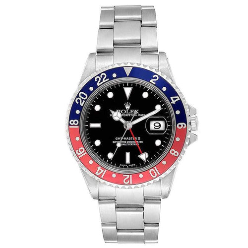 Men's Rolex Black and Stainless Steel GMT Master II 16710 Wristwatch 40MM PRE-OWNED - Global Timez