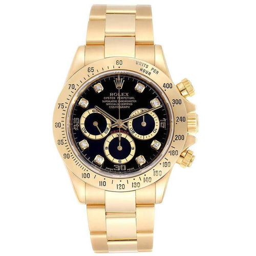 Men's Rolex Black 18K Yellow Gold Diamond and Stainless Steel Daytona Chronograph 16528 Wristwatch 40MM PRE-OWNED - Global Timez