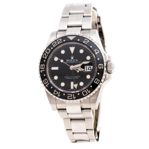 Men's Rolex Black Cerarmic Stainless Steel 116710LN GMT-Master II Wristwatch 40 mm PRE-OWNED - Global Timez
