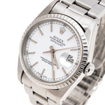 Men's Rolex White Stainless Steel Datejust 16220 Wristwatch 36 mm PRE-OWNED