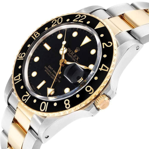 Men's Rolex Black 18K Yellow Gold Stainless Steel GMT Master 16753 Wristwatch 40 MM PRE-OWNED - Global Timez