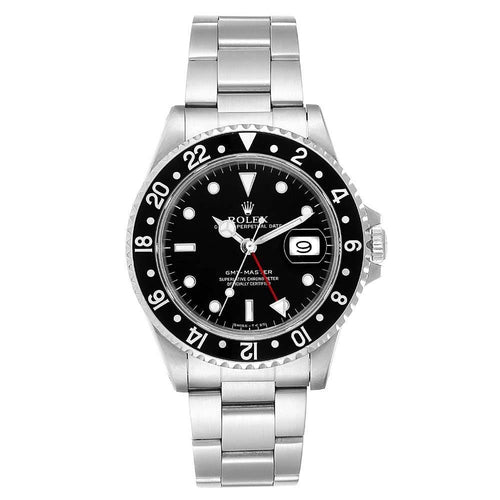 Men's Rolex Black Stainless Steel GMT Master 16700 Wristwatch 40MM PRE-OWNED - Global Timez