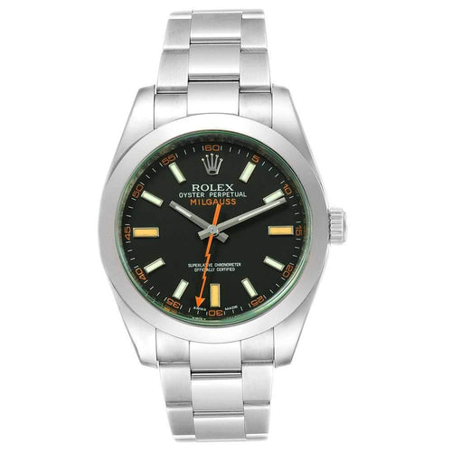Men's Rolex Black Stainless Steel Milgauss 116400V Wristwatch 40 MM PRE-OWNED - Global Timez