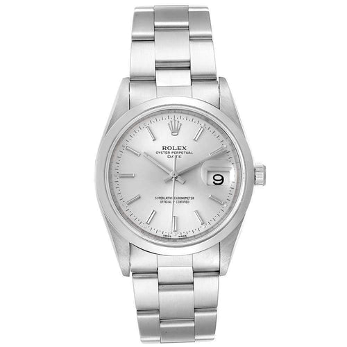 Men's Rolex Silver Stainless Steel Oyster Perpetual Date 15200 Wristwatch 34 MM PRE-OWNED - Global Timez