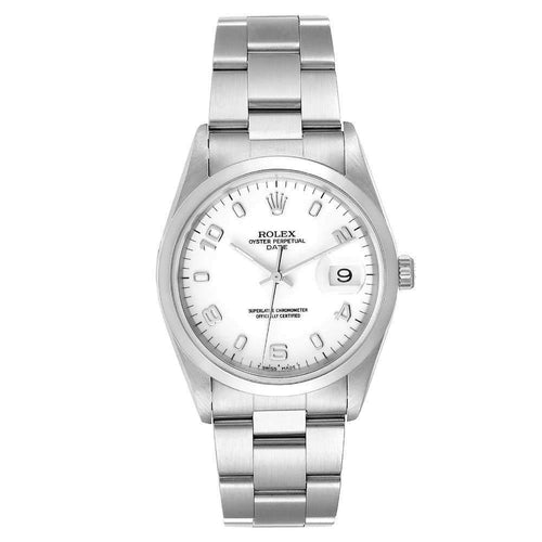 Men's Rolex White Stainless Steel Oyster Perpetual Date 15200 Wristwatch 34 MM PRE-OWNED - Global Timez
