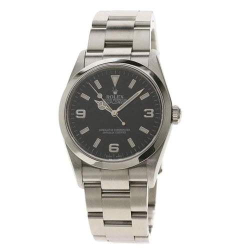 Men's Rolex Black Stainless Steel Explorer I Automatic Wristwatch 36 MM PRE-OWNED - Global Timez