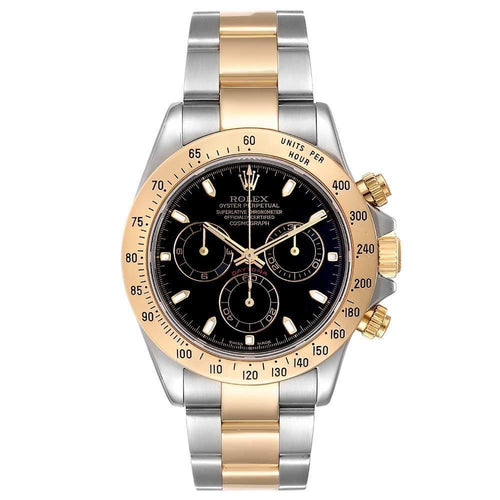 Men's Rolex Black 18K Yellow Gold And Stainless Steel Daytona Automatic Wristwatch 40 MM PRE-OWNED - Global Timez