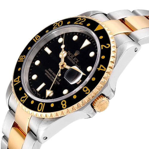 Men's Rolex Black 18K Yellow Gold And Stainless Steel GMT-Master II 16713 Automatic Wristwatch 40 MM PRE-OWNED - Global Timez