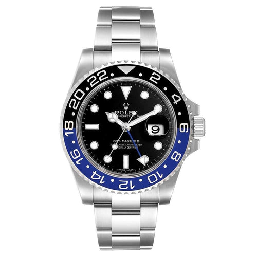 Men's Rolex Black Stainless Steel GMT Master II Batman 116710 Wristwatch 40 MM PRE-OWNED - Global Timez