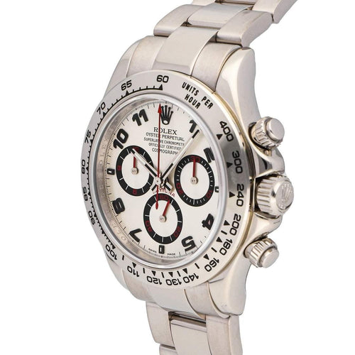 Men's Rolex Silver 18k White Gold Cosmograph Daytona 116509 Wristwatch 40 MM PRE-OWNED - Global Timez