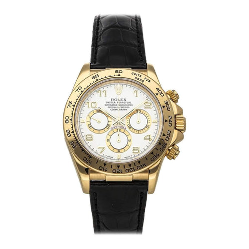Men's Rolex White 18K Yellow Gold Cosmograph Daytona 16518 Wristwatch 40 MM PRE-OWNED - Global Timez