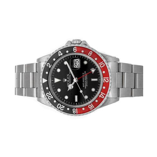 "Men's Rolex Black Stainless Steel GMT-Master II ""Coke"" 16710 Wristwatch 40 MM PRE-OWNED - Global Timez"