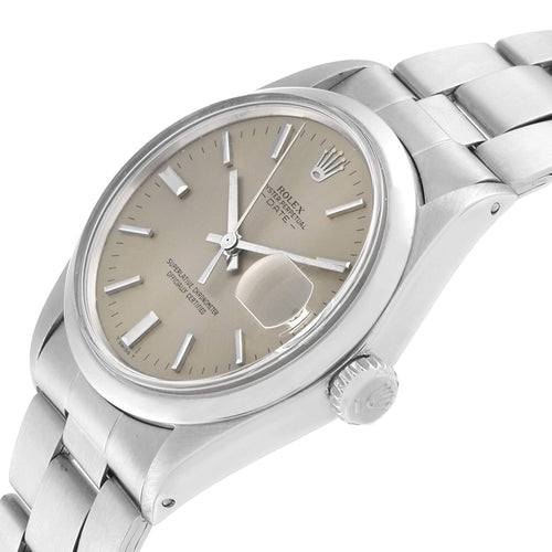 Men's Rolex Grey Stainless Steel Oyster Perpetual Date 1500 Wristwatch 35 MM PRE-OWNED - Global Timez