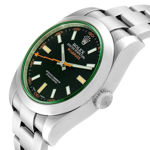 Men's Rolex Blue/Green Stainless Steel Milgauss Automatic 116400GV Wristwatch 40 MM PRE-OWNED - Global Timez