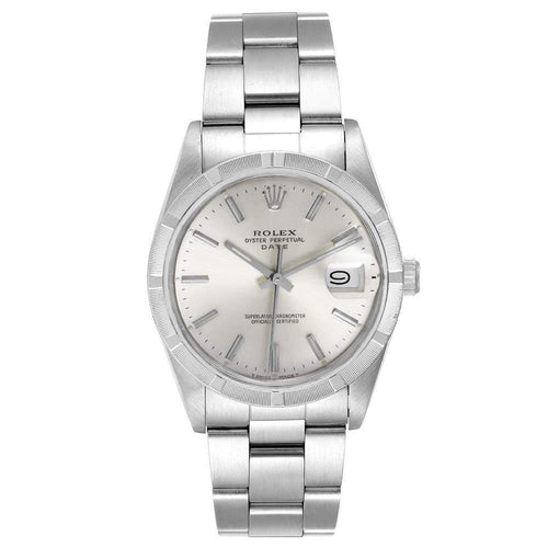 Men's Rolex Silver Stainless Steel Oyster Perpetual Date Vintage 15010 Wristwatch 34 MM PRE-OWNED - Global Timez