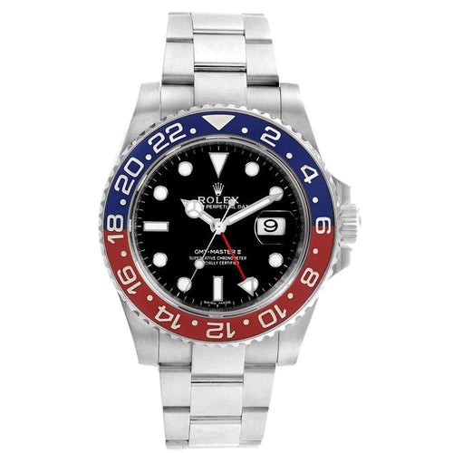 Men's Rolex Black 18K White Gold GMT Master II Pepsi 116719 Wristwatch 40 MM PRE-OWNED - Global Timez