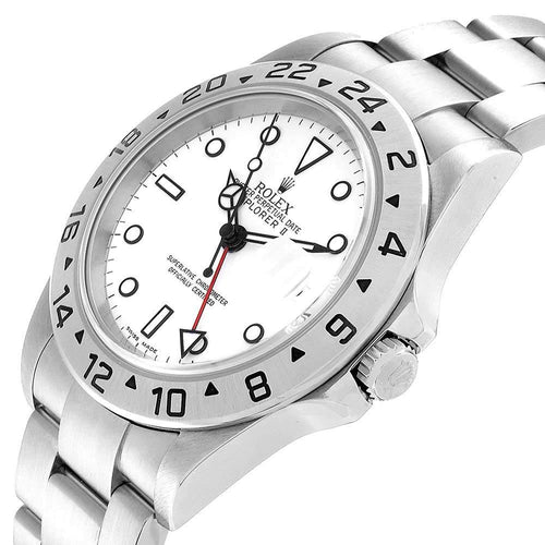 Men's Rolex White Stainless Steel Explorer II Automatic 16570 Wristwatch 40 MM PRE-OWNED - Global Timez