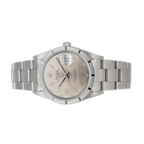Men's Rolex Silver Stainless Steel Oyster Perpetual Date 15210 Wristwatch 34 MM PRE-OWNED - Global Timez
