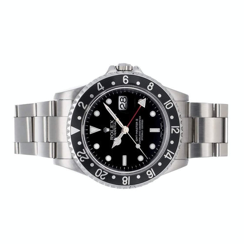 Men's Rolex Black Stainless Steel GMT-Master II 116710LN Wristwatch 40 MM PRE-OWNED - Global Timez