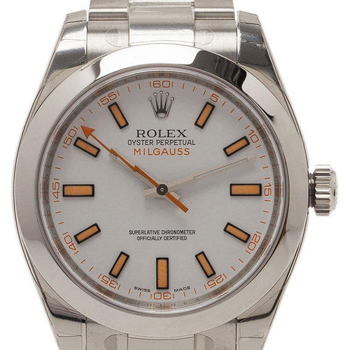 Men's Rolex Cream Stainless Steel Milgauss Wristwatch 40MM PRE-OWNED - Global Timez
