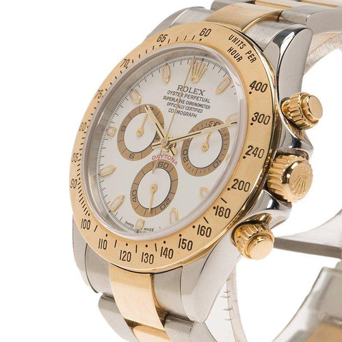 Men's Rolex White Stainless Steel and 18K Yellow Gold Cosmograph Daytona 116523 Wristwatch 40MM PRE-OWNED - Global Timez
