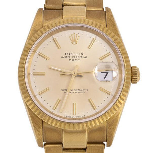 Ladies Rolex Oyster Perpetual Date 18 K Yellow Gold Womens Wristwatch 34 MM PRE-OWNED - Global Timez