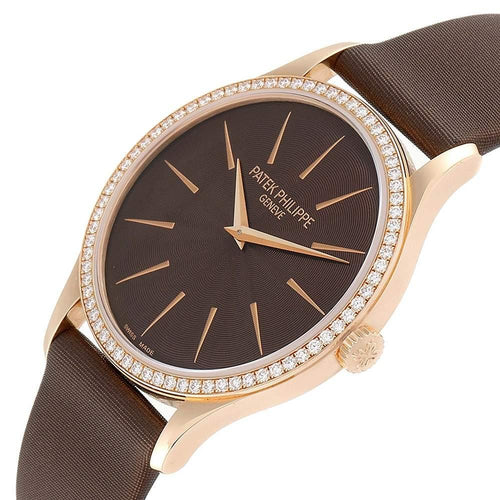 Ladies Patek Philippe Brown Diamonds 18K Rose Gold Calatrava 4897R Wristwatch 33 MM PRE-OWNED - Global Timez
